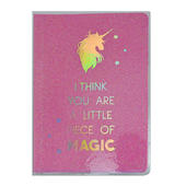 Pink Magic Unicorn Glitter Lined A5 Notebook