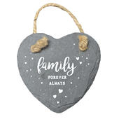 Family Forever Always Mini Heart Shaped Hanging Slate Plaque