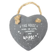 Love Laughter & Wine Mini Heart Shaped Hanging Slate Plaque