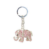 Diamante Sparkly Pink Elephant Keyring
