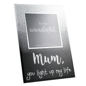 "Mum You Light Up My Life  Glass 4"" x 4"" Freestanding Photo Frame"