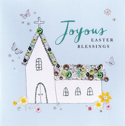 Joyous Easter Blessings Greeting Card Buttoned Up