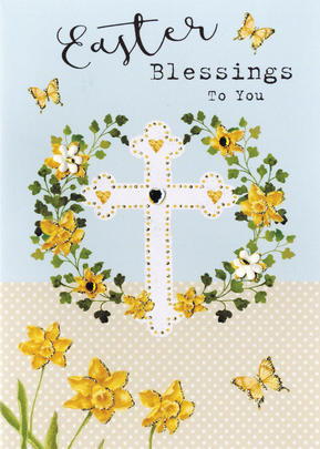 Easter Blessings To You Greeting Card Spring Time Embellished Card