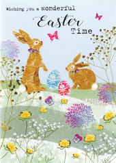 Wishing You A Wonderful Easter Card Spring Time Embellished Card