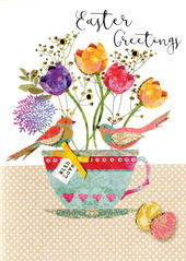 Easter Greetings Card Pretty Spring Time Embellished Card