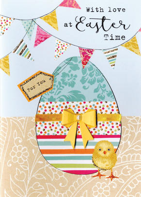 With Love At Easter Time Greeting Card Spring Time Embellished Card