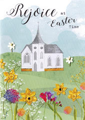 Rejoice At Easter Time Greeting Card Spring Time Embellished Card