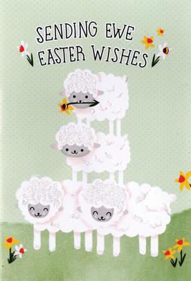 Sending Ewe Easter Wishes Card Cute Hello You Embellished Card