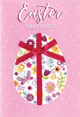Pretty Pink Egg Easter Greetings Card Cute Hello You Embellished Card
