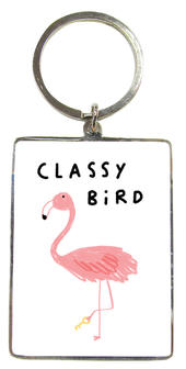 Classy Bird Flamingo Metallic Keyring