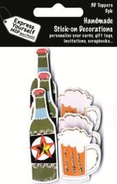 Beer Bottle & Glass Pack Of 3 DIY Greeting Card Toppers
