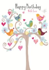Birds In Tree Birthday Greeting Card
