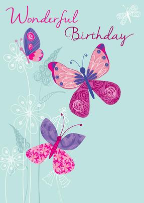 Wonderful Birthday Butterflies Greeting Card
