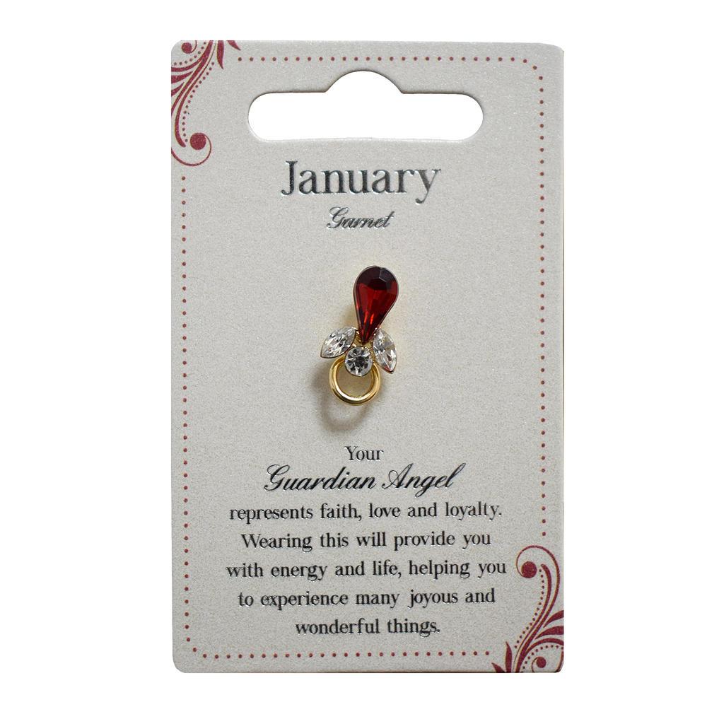 Guardian Angel January Birthstone Angel Pin With Gem Stone
