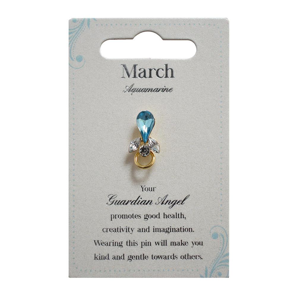 Guardian Angel March Birthstone Angel Pin With Gem Stone