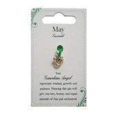 Guardian Angel May Birthstone Angel Pin With Gem Stone