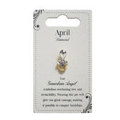Guardian Angel April Birthstone Angel Pin With Gem Stone
