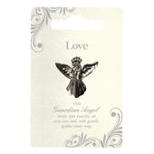 Love Silver Coloured Angel Pin With Gem Stone