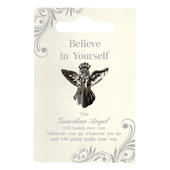 Believe In Yourself Silver Coloured Angel Pin With Gem Stone