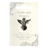 Guide & Protect Silver Coloured Angel Pin With Gem Stone
