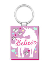 Unicorn Believe More Than Words Mirror Keyring