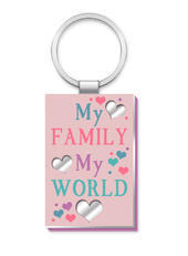 My Family My World More Than Words Mirror Keyring