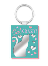 Cat Crazy More Than Words Mirror Keyring