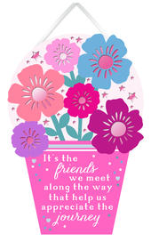 Friends We Meet Along The Way Hanging Plaque With Ribbon