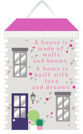 Home Built With Love & Dreams Hanging Plaque With Ribbon