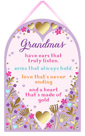 Grandma Heart Of Gold Hanging Plaque With Ribbon