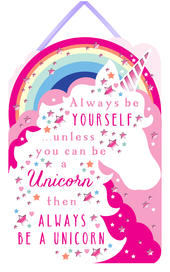 Be A Unicorn Hanging Plaque With Ribbon