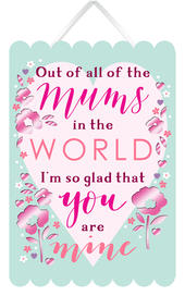 All The Mums In The World Hanging Plaque With Ribbon