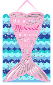 Be A Mermaid In A Sea Of Fish Hanging Plaque With Ribbon