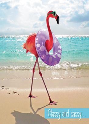 Avanti Classy & Sassy Flamingo Birthday Greeting Card