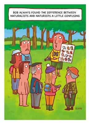 Naturalists V's Naturists Funny Bob On Birthday Greeting Card