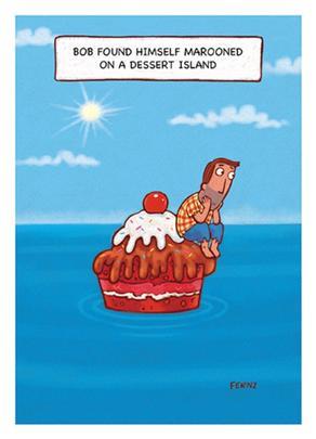 Marooned Dessert Island Funny Bob On Birthday Greeting Card