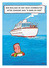 A Band On Ship Funny Bob On Birthday Greeting Card