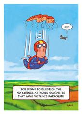 Parachute No Strings Attached Funny Bob On Birthday Greeting Card