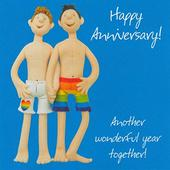 Male Couple Anniversary Greeting Card