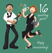16th Wedding Anniversary Greeting Card