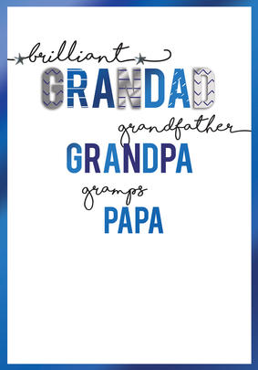 Grandfather Grandad Grandpa Gramps Papa Embellished Father's Day Card