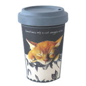 Cat Snuggle Little Dog Laughed Bamboo Travel Cup