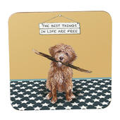 The Best Things In Life Are Free Goldendoodle  Little Dog Laughed Coaster