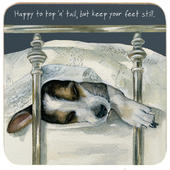 Happy To Top 'N' Tail But Keep Your Feet Still Little Dog Laughed Coaster