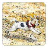 Pebble Dash Fox Terrier Little Dog Laughed Coaster