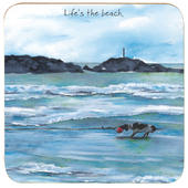 Life's The Beach Little Dog Laughed Coaster