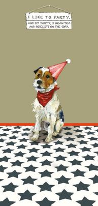 Party Animal Tea & Biscuits Little Dog Laughed Greeting Card