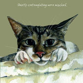 Cat Contemplating Mischief Little Dog Laughed Greeting Card