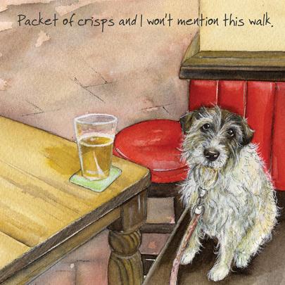 Dog Walk Pub Pint Little Dog Laughed Greeting Card