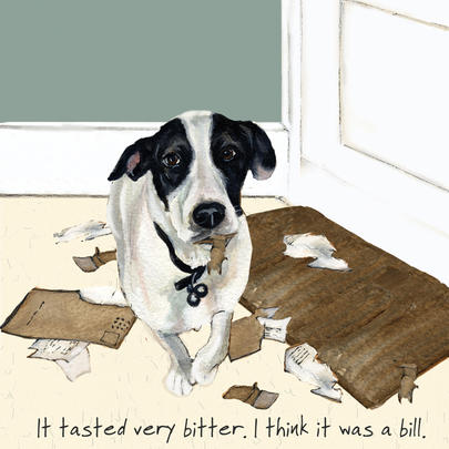 It Tasted Bitter It Was A Bill Little Dog Laughed Greeting Card